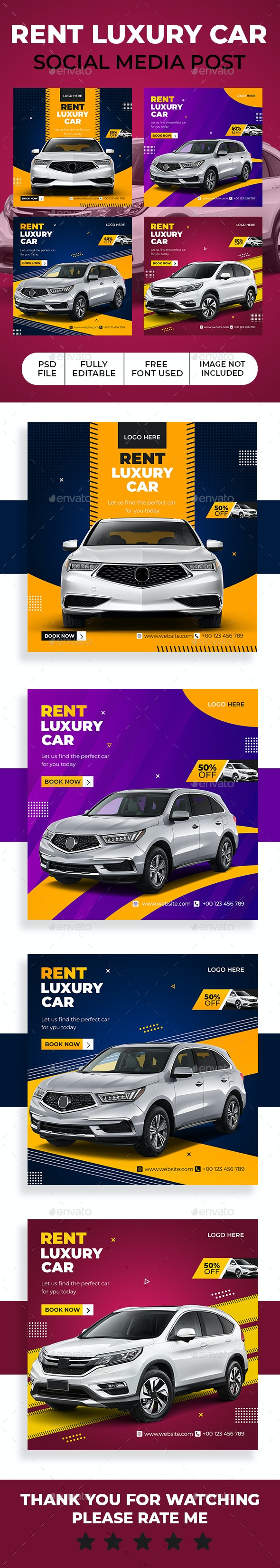 Rent Car Social Media Template - Social Media Web Elements