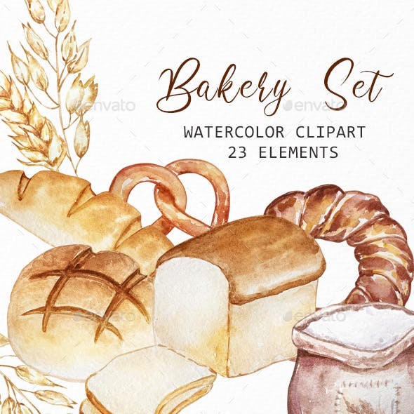 Watercolor Bakery clipart, Pastry and Bread clipart