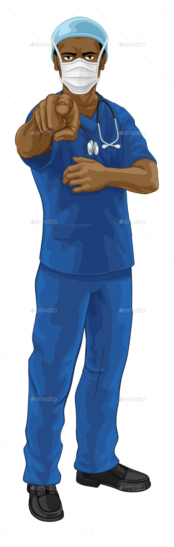 Nurse Doctor in PPE Mask Pointing - People Characters