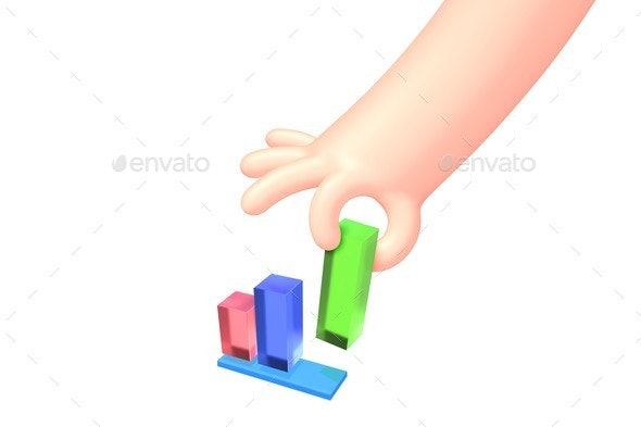 Vector Cartoon Hand with Bright Business Chart - Concepts Business