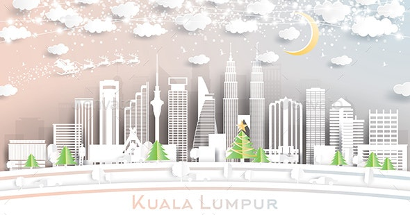 Kuala Lumpur Malaysia City Skyline in Paper Cut Style with Snowflakes, Moon and Neon Garland. - Buildings Objects
