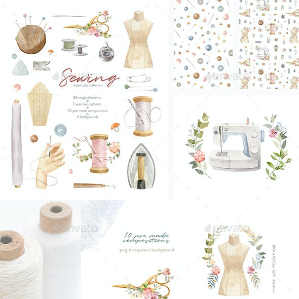 Sewing Supplies Illustrations - Watercolor Clipart