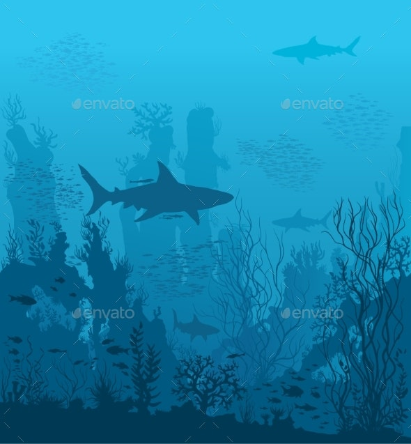 Blue Underwater Landscape with Sharks and Coral - Landscapes Nature
