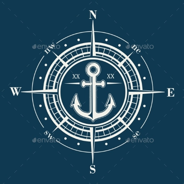 Compass Rose or Windrose Emblem with Anchor - Decorative Symbols Decorative