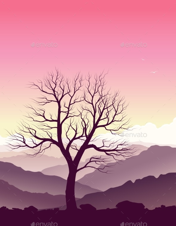 Purple Mountain Landscape with Old Tree - Landscapes Nature