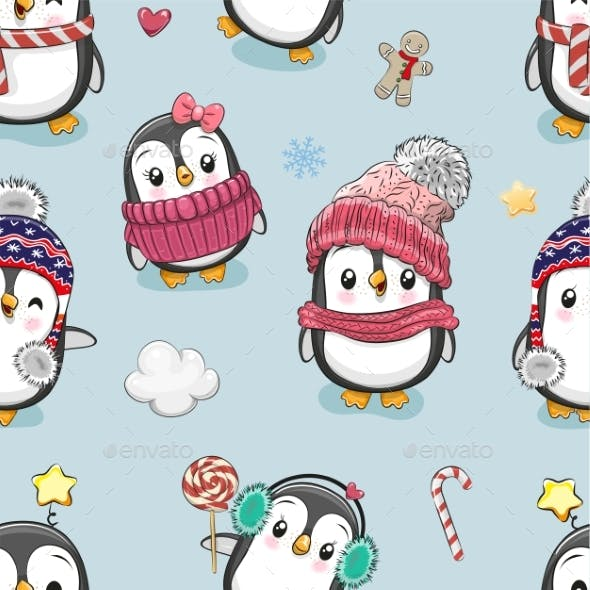 Pattern with Cute Cartoon Penguins