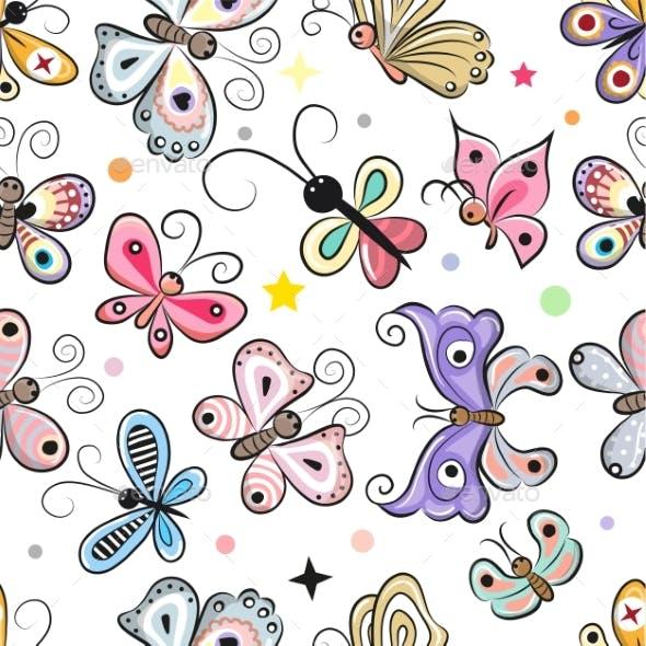Pattern with Cartoon Butterflies