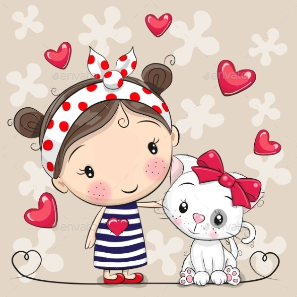 Cartoon White Kitten and a Girl in a Striped Dress - Miscellaneous Vectors