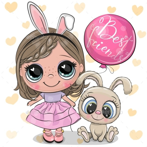 Cartoon Girl with Rabbit in a Pink Dress - Miscellaneous Vectors