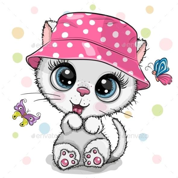 Cute Cartoon White Kitten in a Panama Hat - Miscellaneous Vectors
