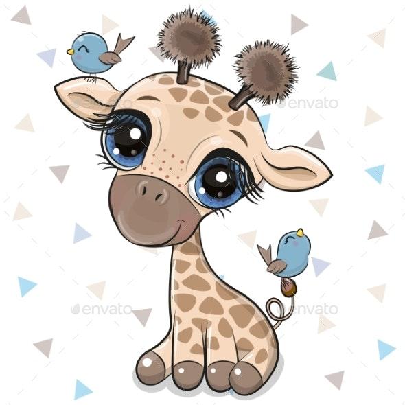 Cartoon Giraffe with Two Birds - People Characters