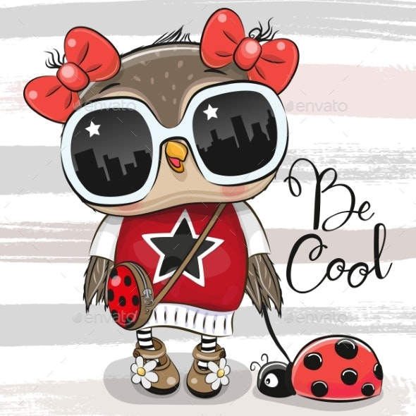 Cartoon Owl with Sunglasses and Ladybug - Animals Characters