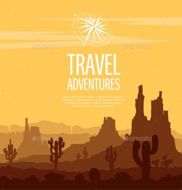 Desert Landscape Witn Huge Rocky Mountains - Landscapes Nature