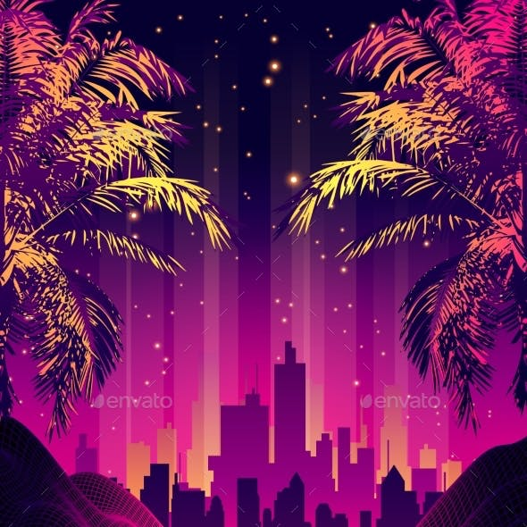 Retro Futuristic Background 1980s Style with Palms
