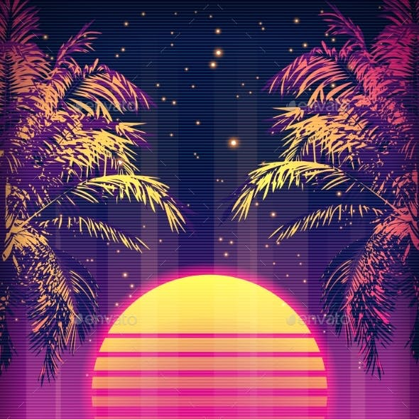 Retro 80s Style Tropical Sunset with Palm Tree.