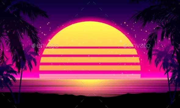Retro 80s Style Tropical Sunset with Palm Tree. - Miscellaneous Vectors