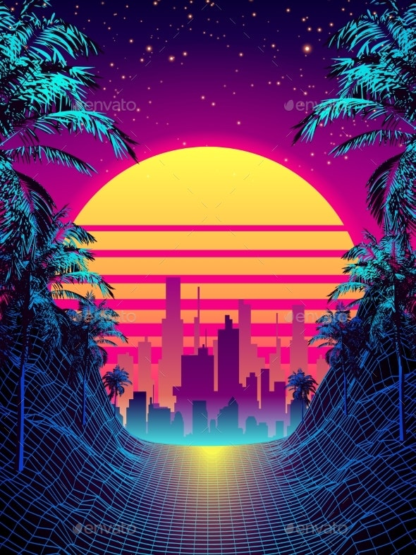 Retro Futuristic Background 1980s Style with Palms - Miscellaneous Vectors
