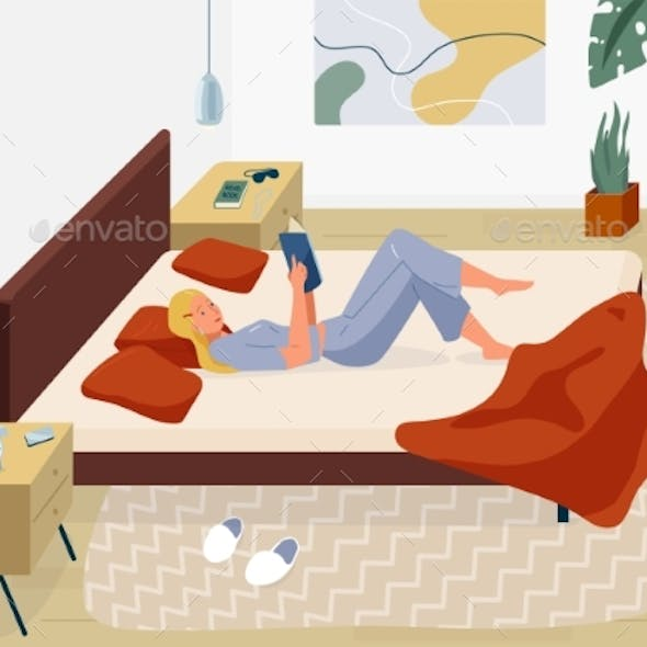 Woman Reading Book Vector Background. Relaxed Girl