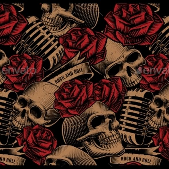 Seamless Pattern with Skulls, Microphones and