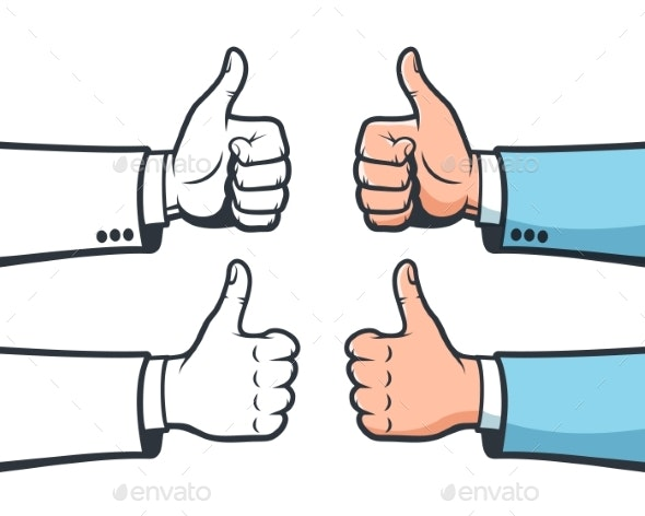 Thumb Up Hand Gesture. Like Sign Male Hand - Miscellaneous Vectors