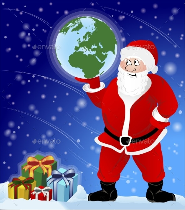 Santa Claus with Presents and Holding the Earth - Backgrounds Decorative