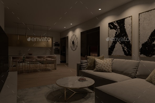 Interior Design of a City Apartment with Panoramic - Miscellaneous 3D Renders