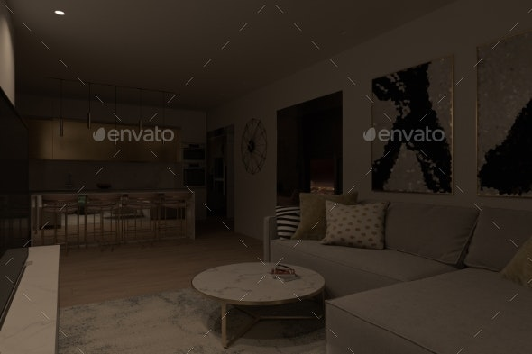 Illustration of an Apartment Interior Design with - Miscellaneous 3D Renders