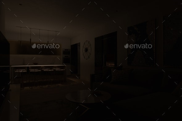 Night 3D Visualization of the Interior. Design of - Miscellaneous 3D Renders