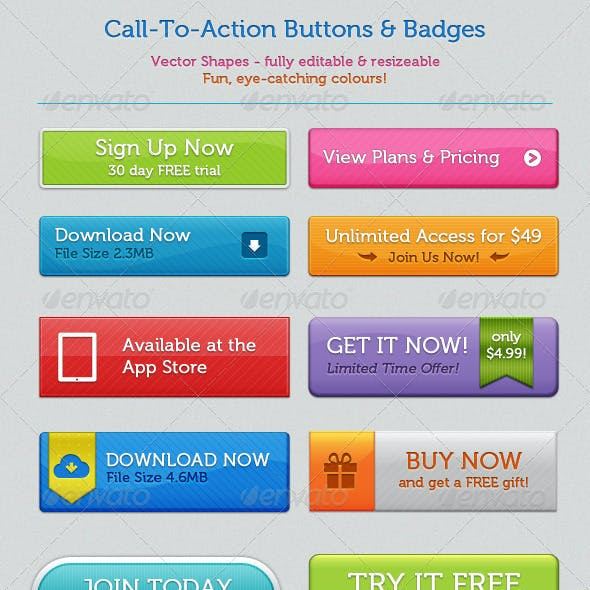 Call-To-Action Buttons and Badges