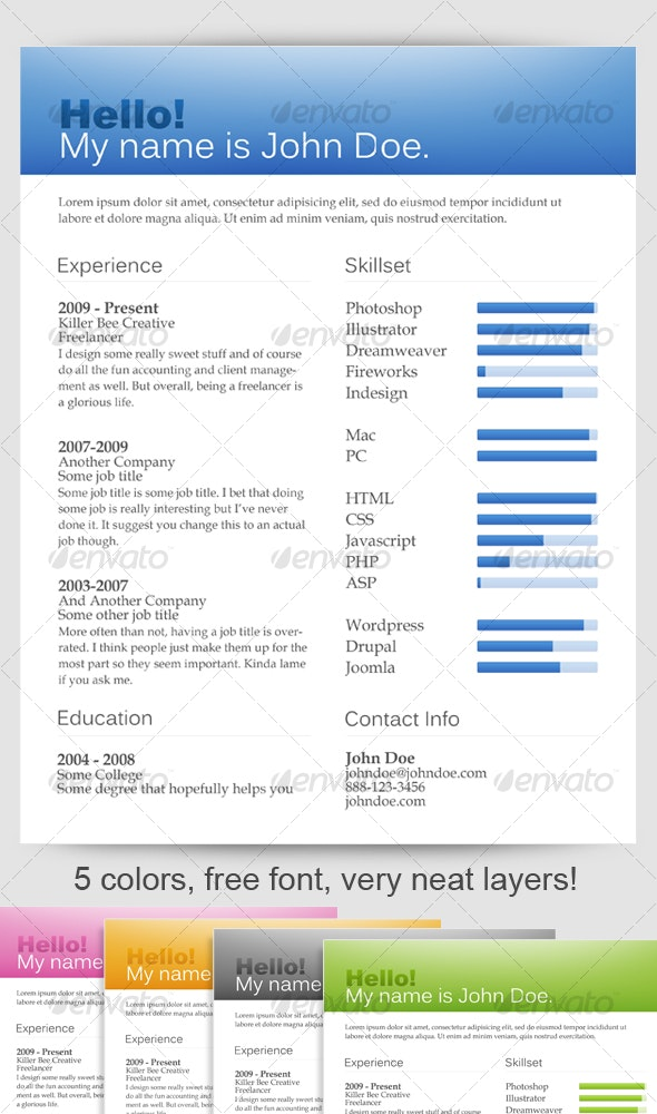 Web 2.0 One-Page Resumes - Resumes Stationery