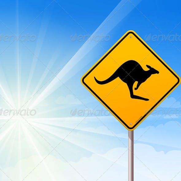 Kangaroo sign on blue sky
