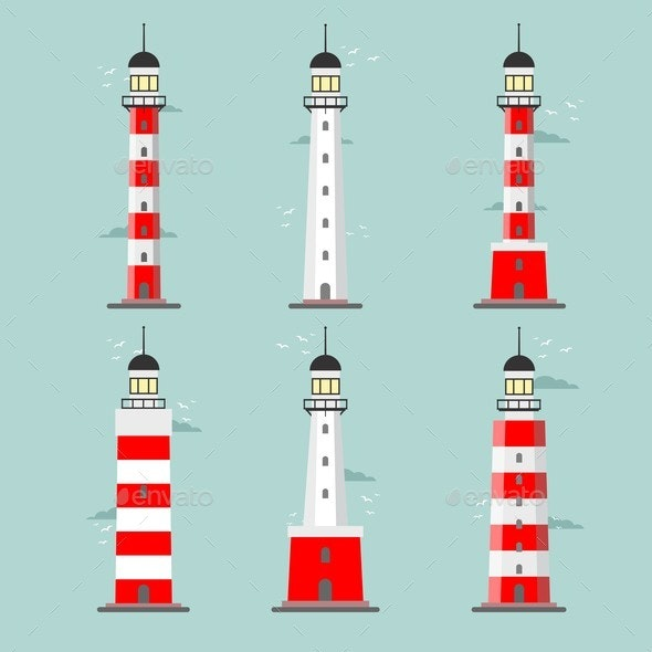 Set of Cartoon Lighthouses - Buildings Objects