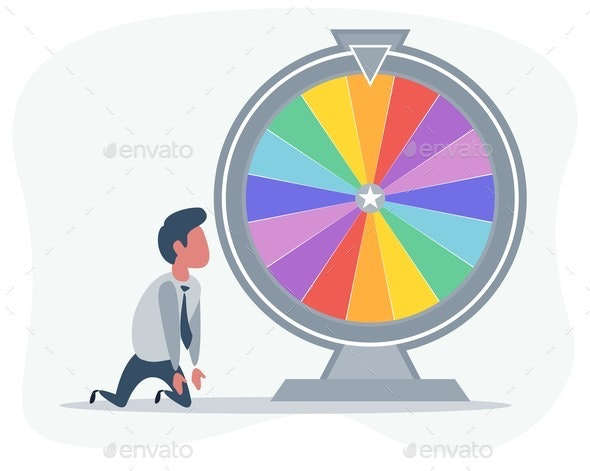 Office Worker Standing on His Knees Near Wheel - People Characters