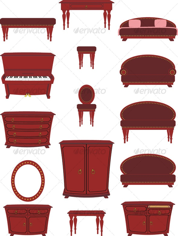 Set of Cartoon Furniture - Man-made Objects Objects