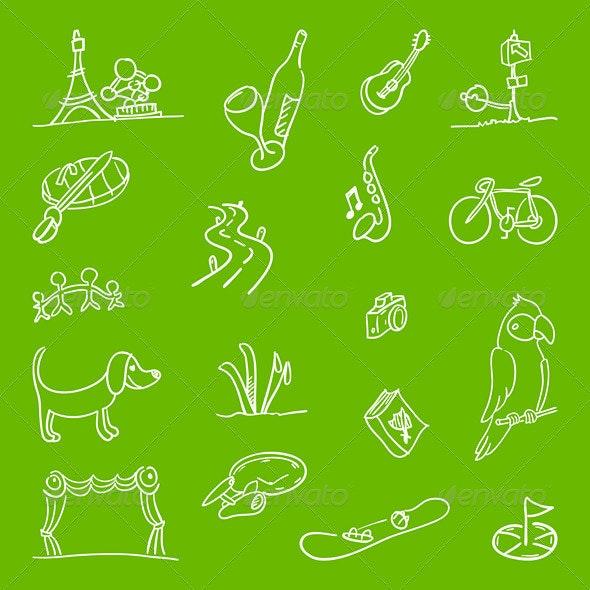 Hobby Symbols Illustration - Backgrounds Decorative