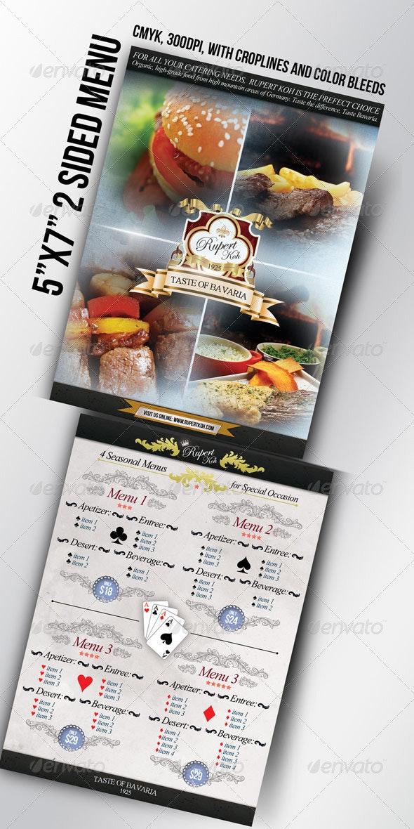 "5""x7"" Restaurant / Catering / Cafe menu"