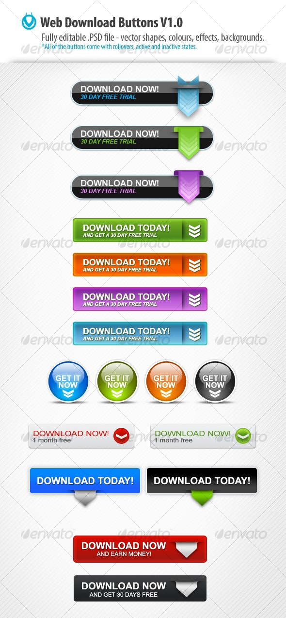 Web Download Buttons v1.0 by VO - Buttons Web Elements