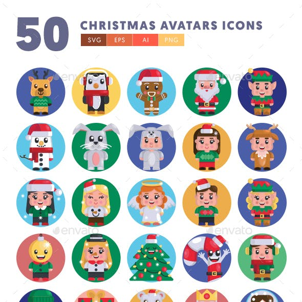50 Christmas Avatars Icons