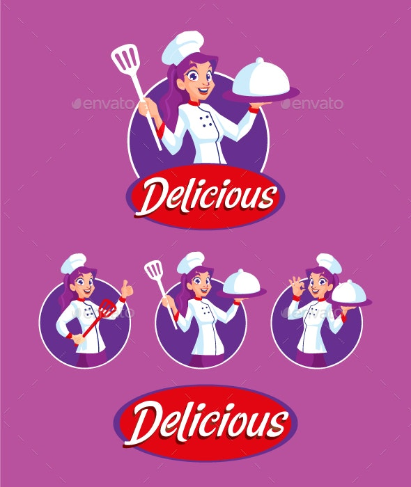 Woman Chef Mascot - Food Objects