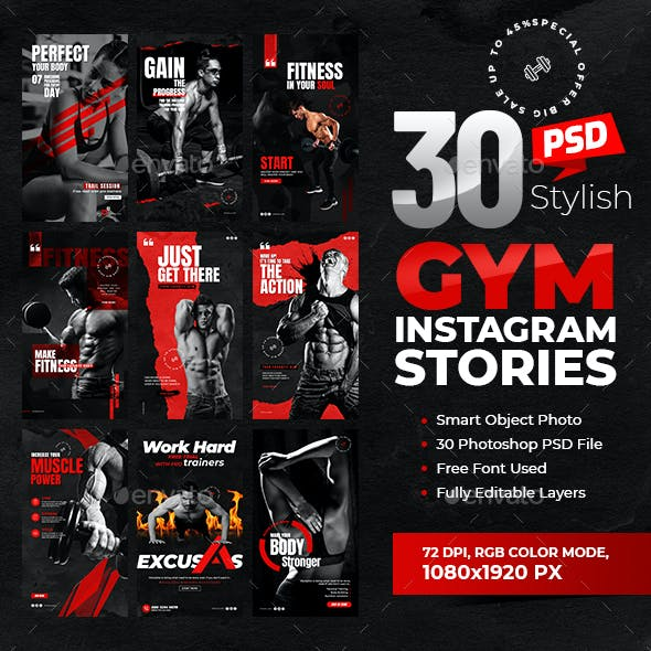 30-Instagram Fitness GYM Stories