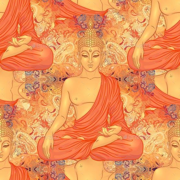 Buddha Head Seamless Pattern