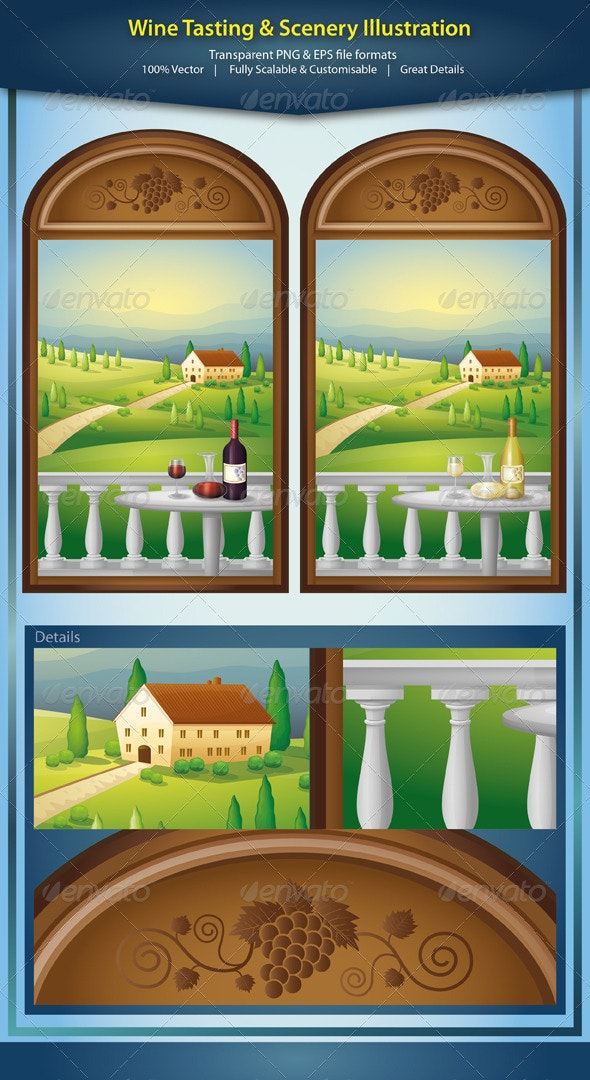 Wine Tasting With Scenery Illustration - Landscapes Nature
