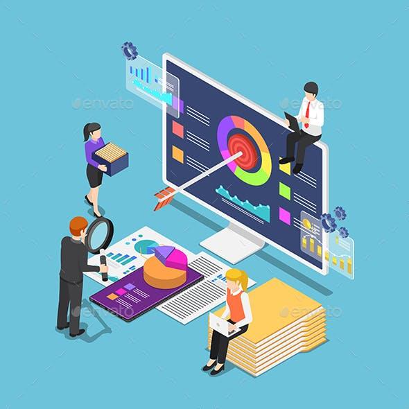 Isometric Business People Analyzing Business Statistics