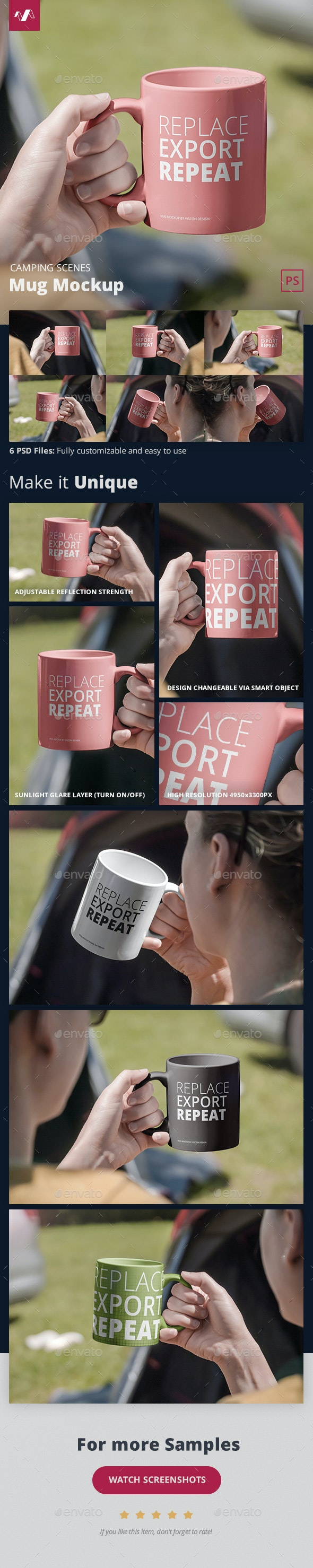 Mug Mockup Camping Scenes - Food and Drink Packaging