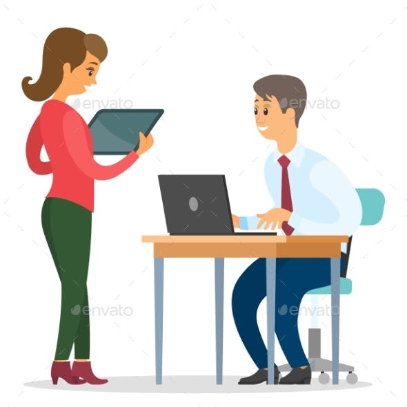 Business Woman with Tablet and Man with Laptop