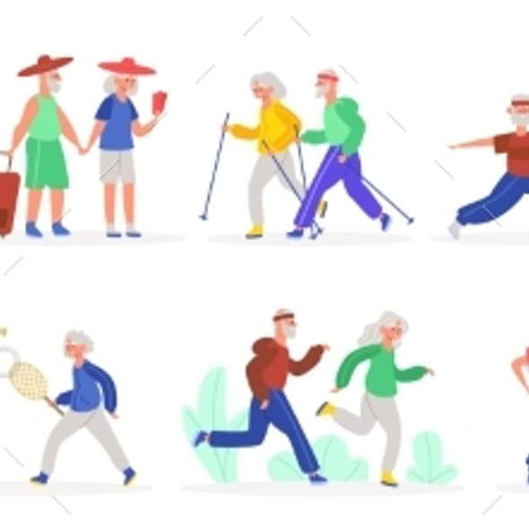 Active Elderly Couples. Senior Elderly Couple