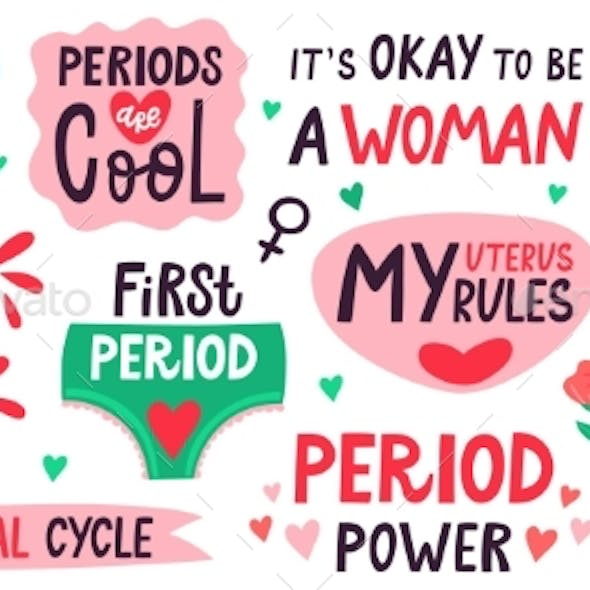 Menstruation Lettering. Menstrual Cycle Quotes, My