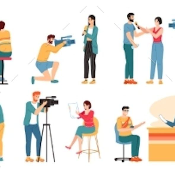 Journalist Characters. Reporters, News Presenter