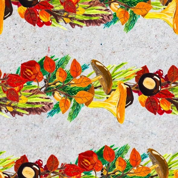 Autumn Watercolor Hand Drawn Seamless Pattern with