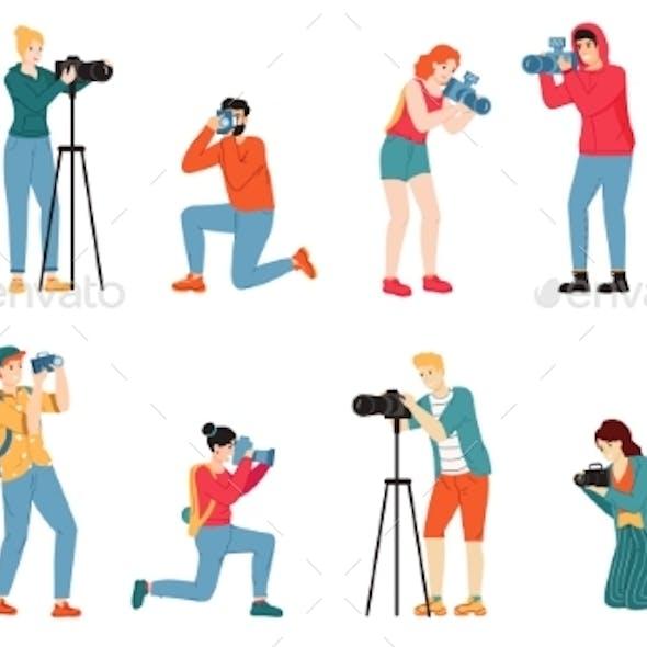 Photographer Characters. Paparazzi, Cameraman